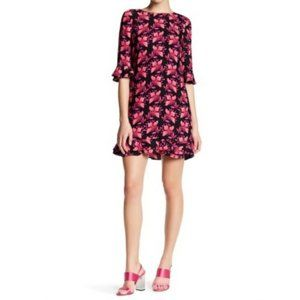 CeCe | Kate Black & Pink Floral Shift Ruffle Dress